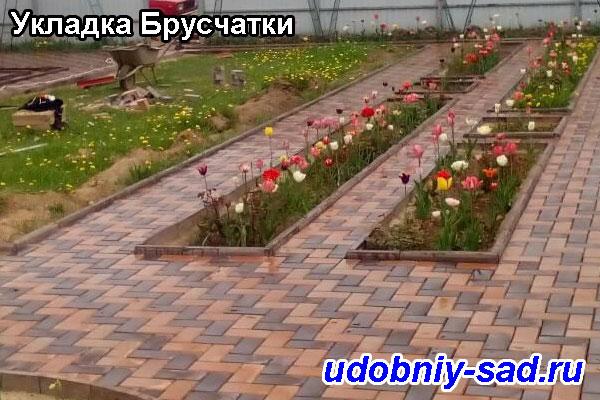 Пример укладки тротуарной плитки Брусчатка в Московской и Тульской областях