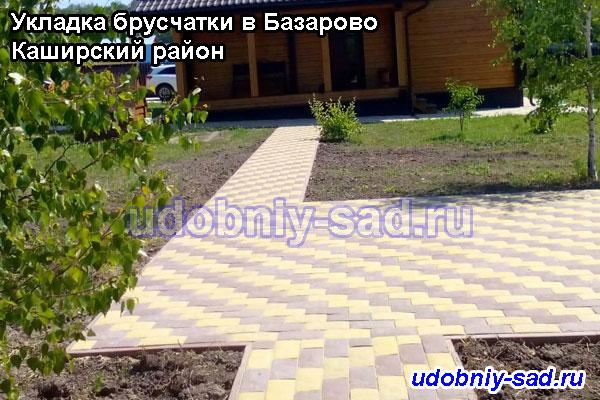 Пешеходные дорожки и зона барбекю с укладкой двухцветной брусчаткой на даче (село Базарово Каширского района Московской области)
