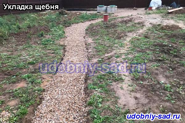 Укладка щебня в селе Лужники