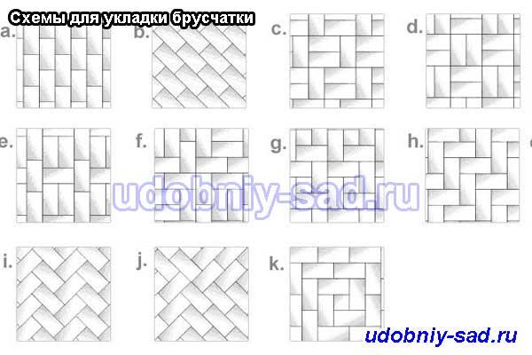 Примеры схем для укладки тротуарной плитки Кирпич (или Брусчатка)