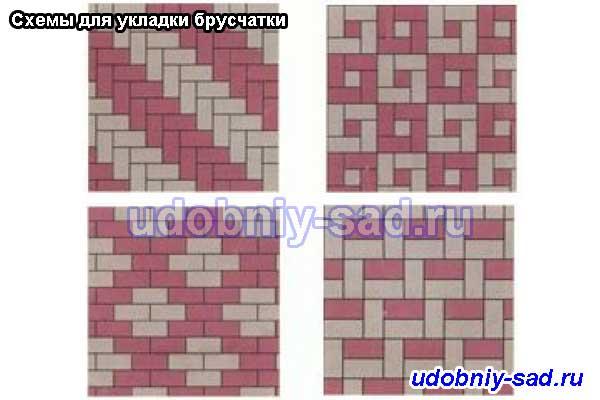 Схемы укладки с использованием брусчатки двух цветов