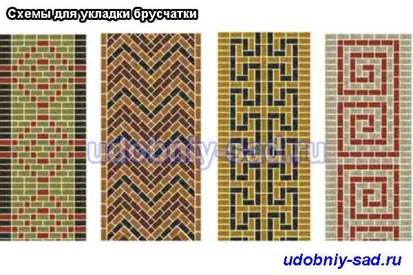 Схемы укладки с использованием разноцветной брусчатки