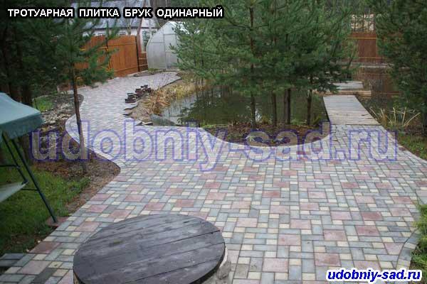 Укладка тротуарной плиткой Брук зоны отдыха и садовых дорожек