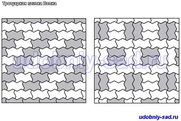 Схемы укладки тротуарной плитки Волна