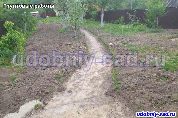 Подготовка грунта для укладки садовых дорожек и установки газона