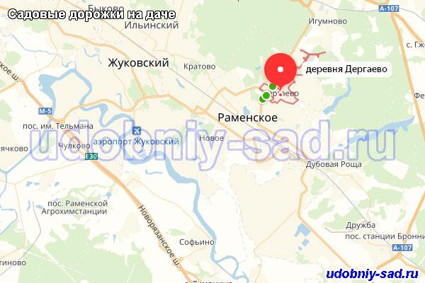 Деревня Дергаево Раменского района на карте