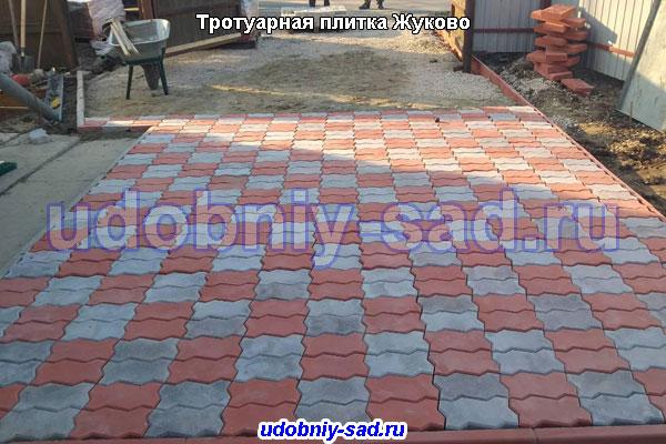 Укладка тротуарной плитки Волна в деревне Жуково Раменского района Московской области