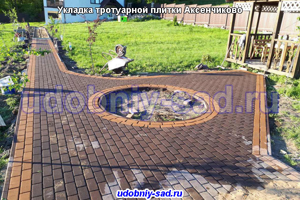Укладка тротуарной плитки под ключ в деревне Аксенчиково Чеховского района Московской области