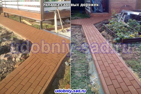 Примеры укладки тротуарной плитки брусчатка на садовых дорожках